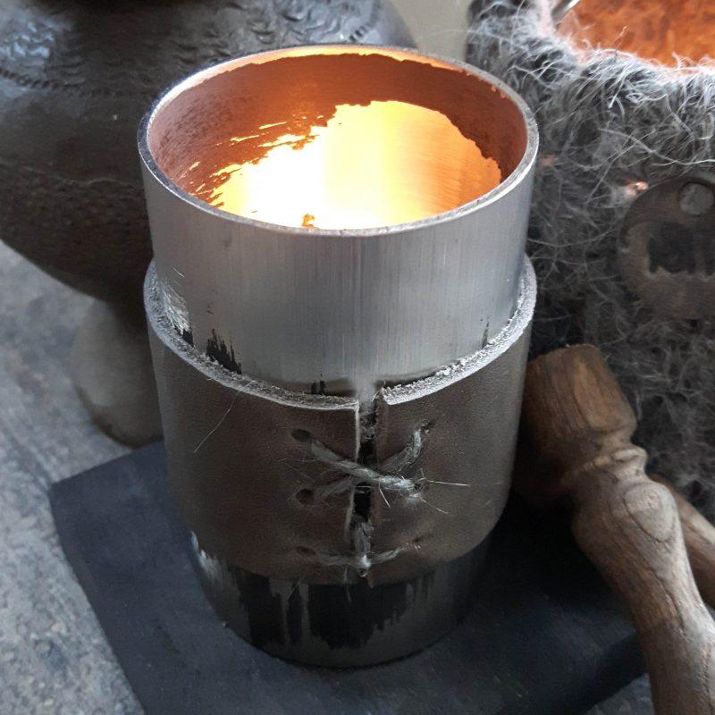 Waxinelichthouder RMV Tactiles staal leer wollen windlicht wol