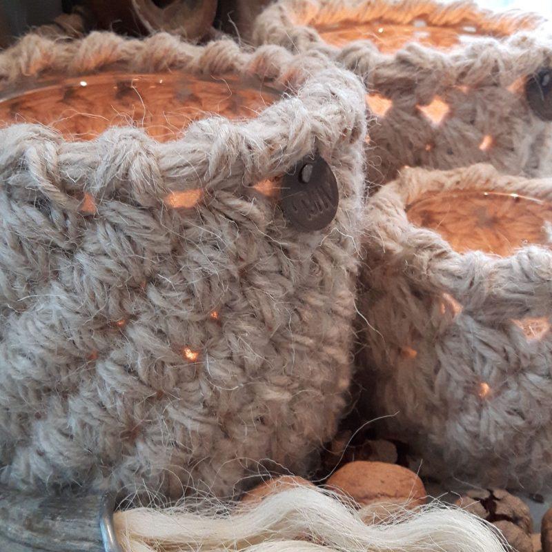 Waxinelichthouders naturel RMV Tactiles wollen windlicht wol