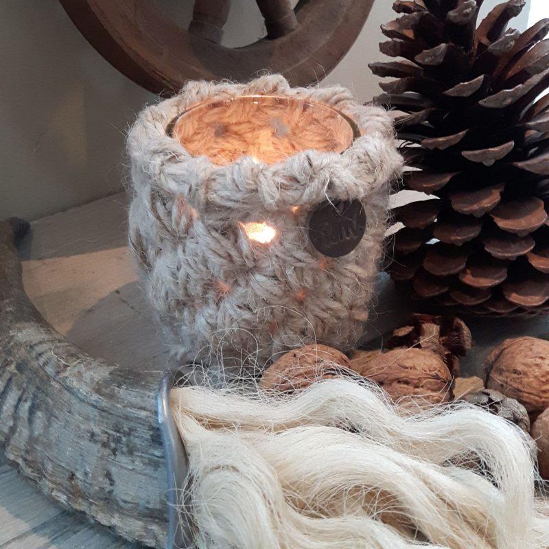 Ramhoorn wolpluim waxinelichthouder 10cm naturel RMV Tactiles wollen windlicht wol