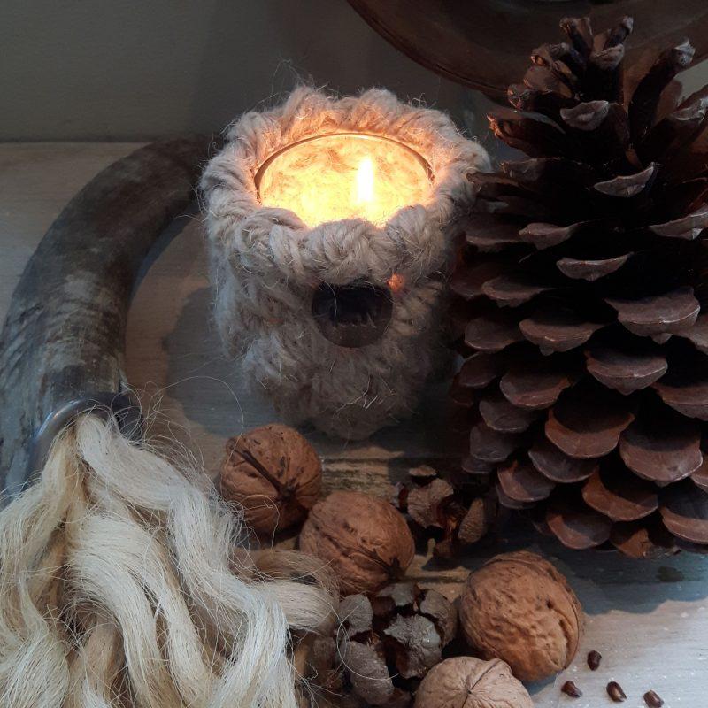 Ramhoorn wolpluim waxinelichthouder 8 cm naturel RMV Tactiles wollen windlicht wol