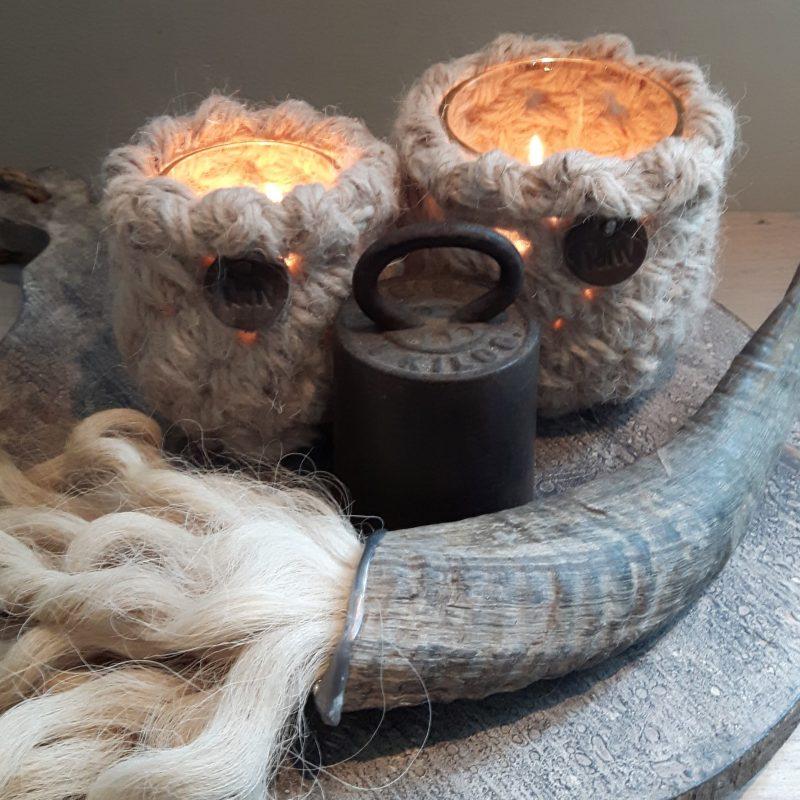 Ramhoorn wolpluim waxinelichthouders naturel RMV Tactiles wollen windlicht wol