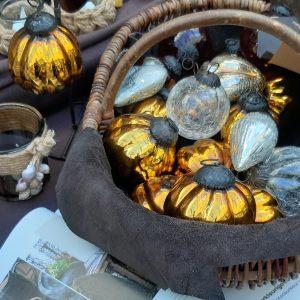 Glazen decoratieballen amberkleurig 5 stuks