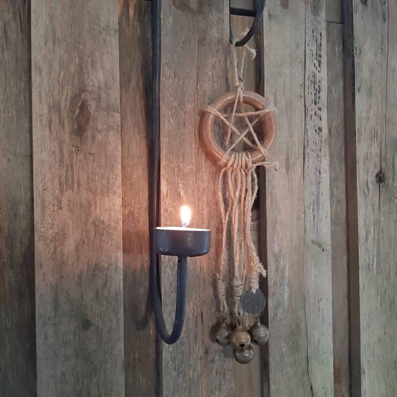 Witch's bells - 5 bellen naturel touw pentakel heksenbellen - RMV Tactiles