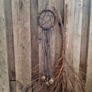 Witch's bells - 5 bellen grijs touw pentakel heksenbellen - RMV Tactiles